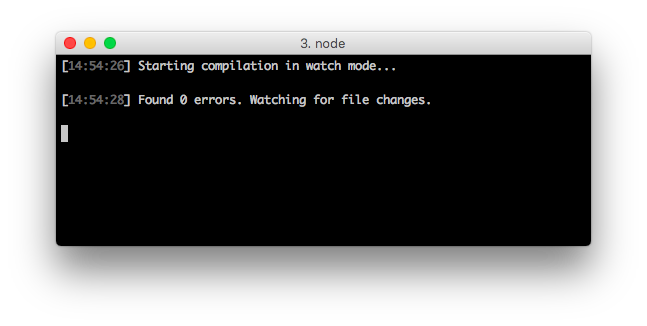 TypeScript CLI watching the source. No errors detected.
