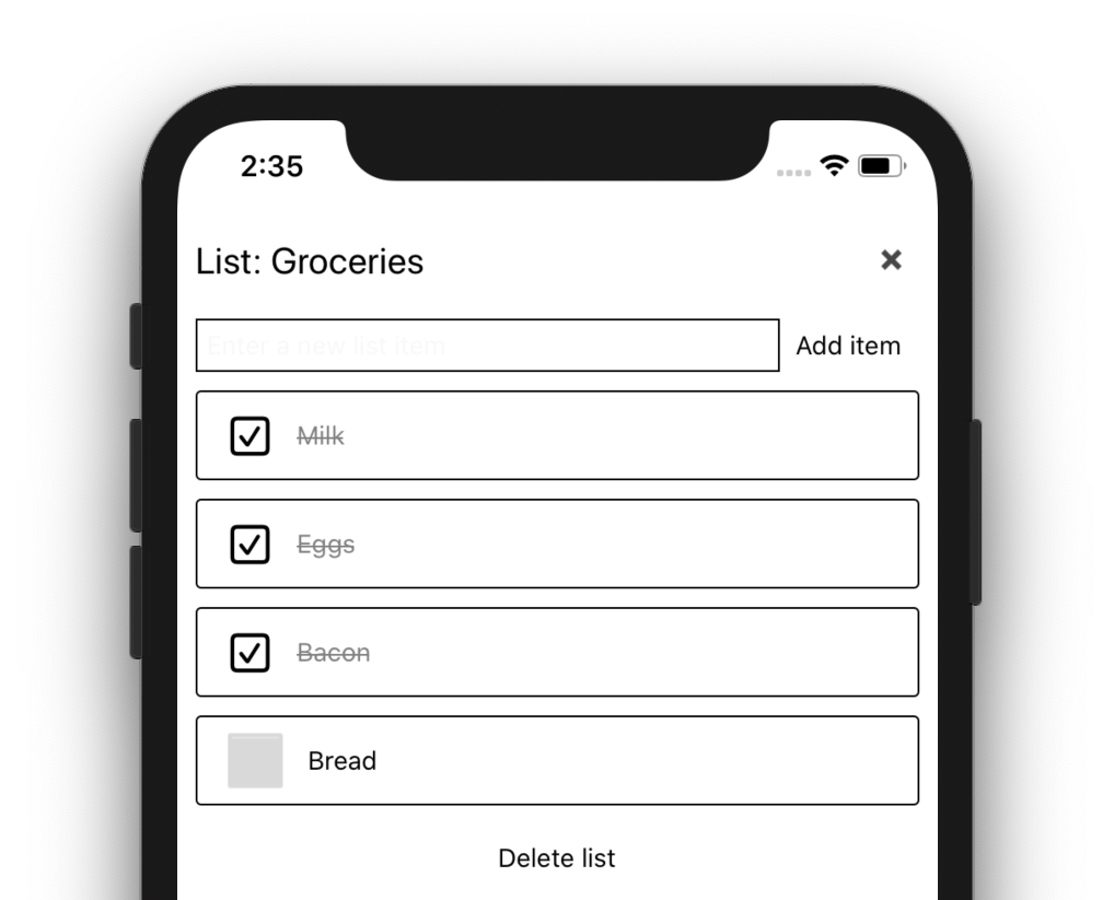 Demo List app running on an iPhone 11 sim