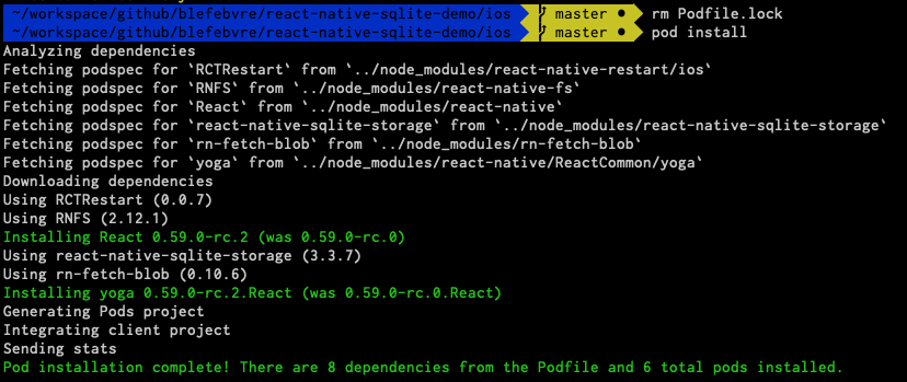 Cocoapods installing new version of React pods