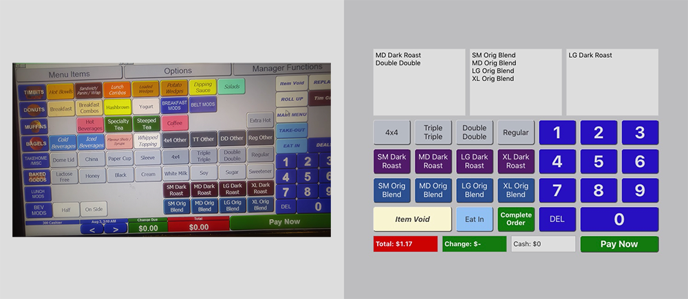 Side by side: screengrab from a video of a Tim's register in use, and my demo app replica to the right